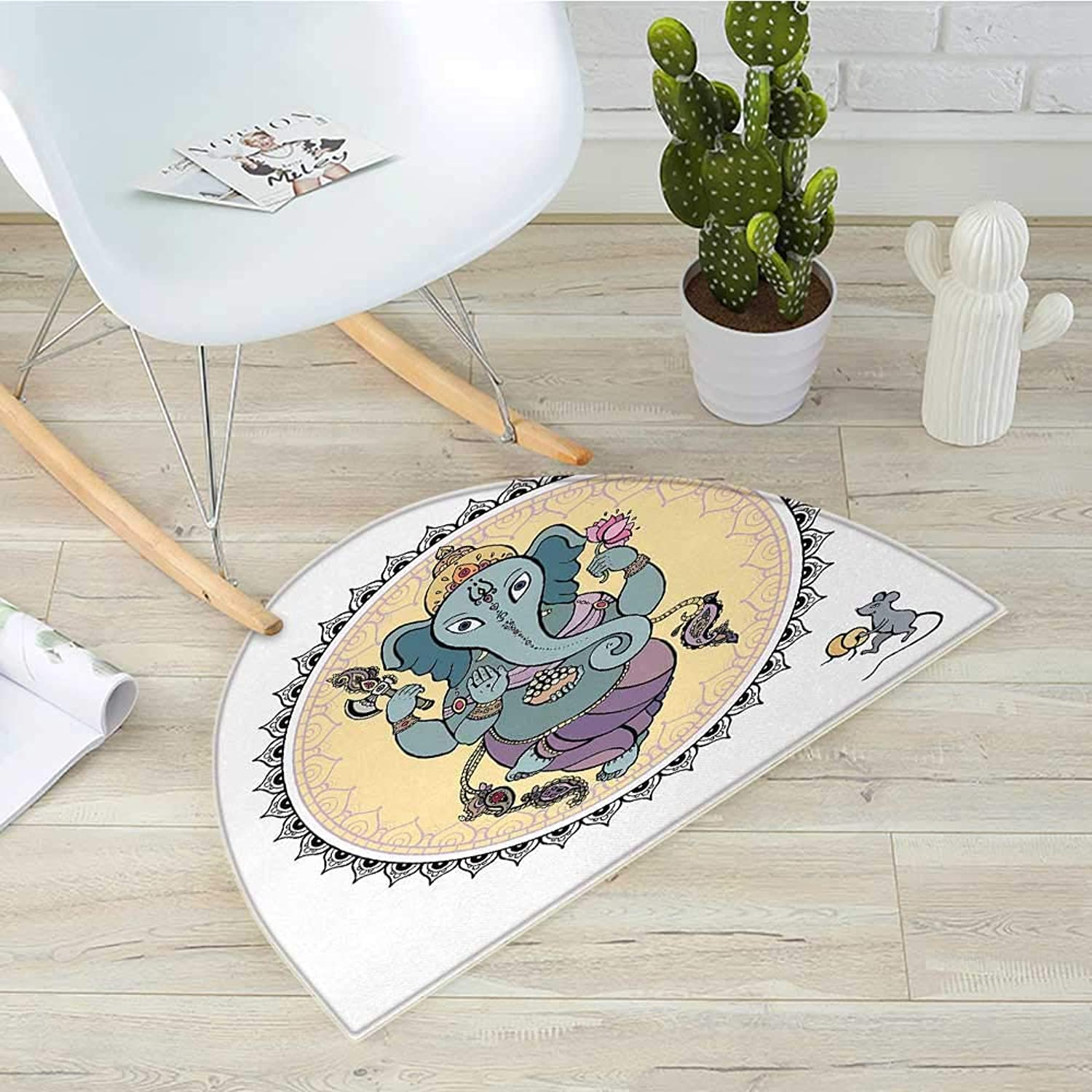 Hippie Semicircle Doormat Mandala Circle with Asian Ceremony Cultural Ritual and Search for Wisdom Concept Halfmoon doormats H 39.3  xD 59  Multicolor