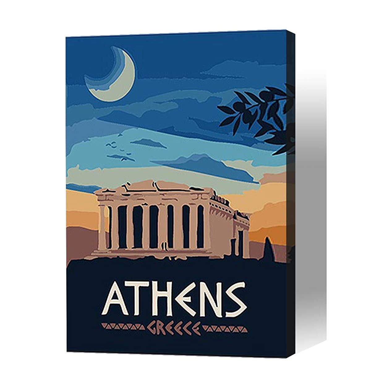 【Wooden Framed】Paint By Numbers for Kids / Adults Beginner --Handmade Gift Poster(ATHENS Charm Landscape /DIY /12