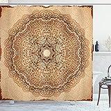 ABAKUHAUS Brown Mandala Cortina de Baño, Vintage étnico, Material Resistente al Agua Durable Estampa Digital, 175 x 220 cm, Marrón Amarillento Jengibre