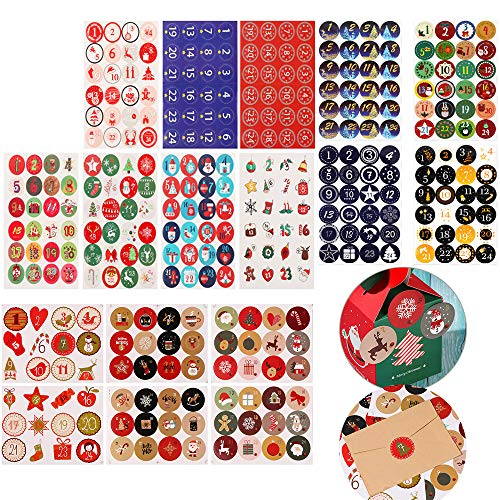 336Pcs Christmas Tags Sticker Christmas Envelope Gifts Seals Decals Number Xmas Pattern Gift Labels Self Adhesive Xmas Present Packaging Tags(14Sheet)