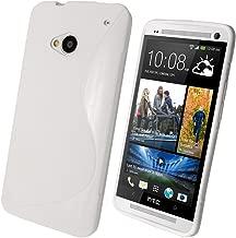 igadgitz Dual Tone Blanco Case TPU Gel Funda Cover Carcasa para HTC One M7 Android Smartphone + Protector de pantalla