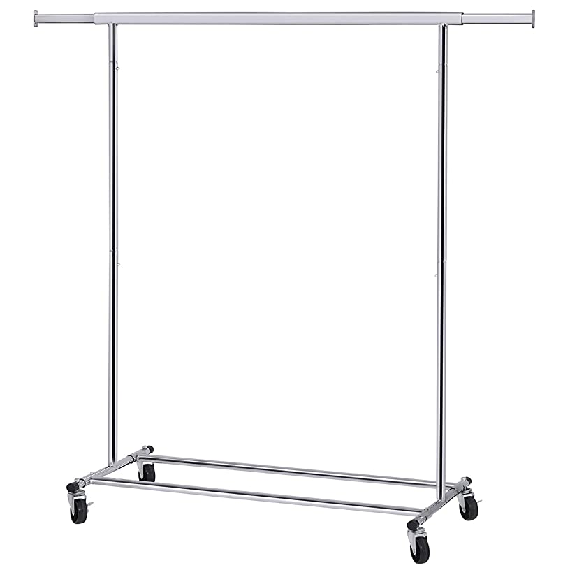 SONGMICS Clothes Rack on Wheels, Heavy Duty Garment Rack with Extendable Hanging Rail, Holds up to 198 lb, Collapsible Clothing Rack UHSR13S
