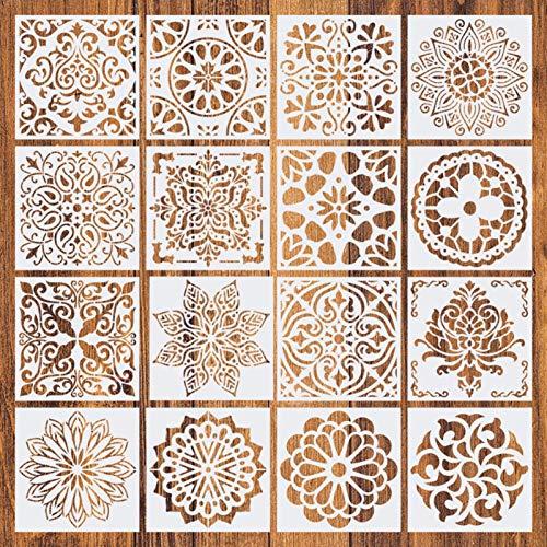Plantillas de puntos de mandala reutilizables - 16 piezas de diferentes patrones Plantillas de pintura de puntos Herramientas de arte para bricolaje Rocas Arte de pared de piedra,...