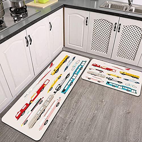 Juegos de alfombras de Cocina,CFLJTXP-69574,Antideslizantes Lavables de 2 Piezas Alfombra súper Absorbente