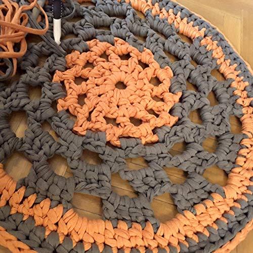 Alfombra redonda mandala hecha a mano en trapillo naranja y gris 66...