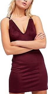 Womens Faux Suede Bandage Mini Dress