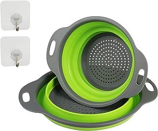ZoomSky 2pcs colador Plegable Silicona Filtro de escurridor de coladores de Pasta de Dos tomaño con Dos Ganchos Adhesivo para Verduras, Espaguetis, brócoli, Ensalada, etc