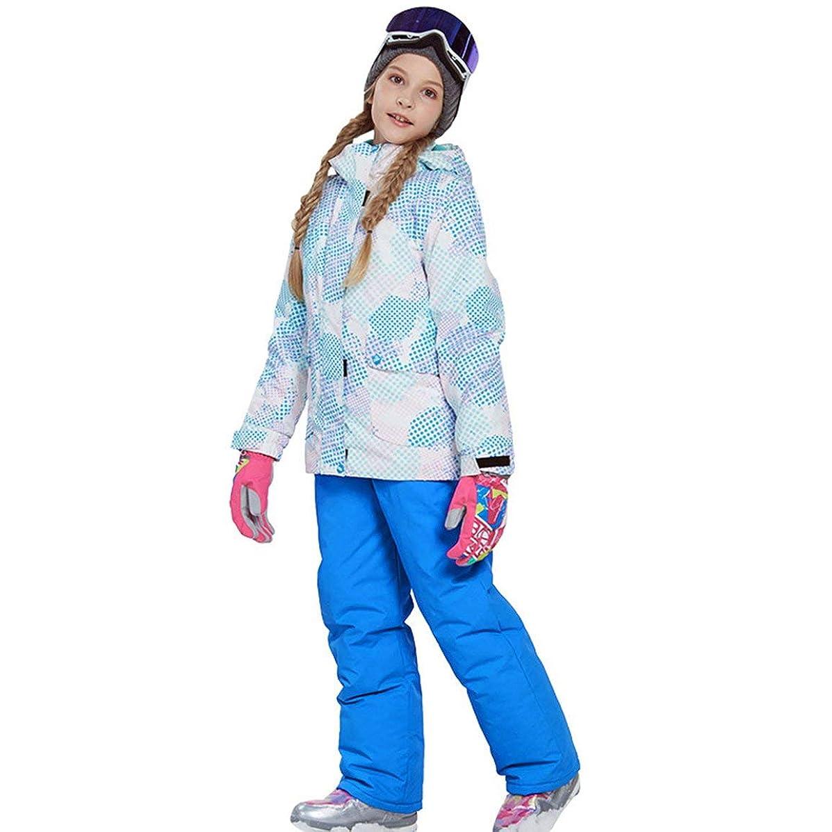 玉ねぎ考慮メカニックラブリーボーイズガールズウィンタースノーボードパーカージャケットスノービブスノースーツセット暖かいスノースーツフード付きスキージャケット+パンツ2個セット-スカイブルー116