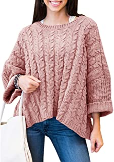 Womens Plus SIze Cable Knit Sweaters Oversized Casual Chunky Long Sleeve Pullover Tops