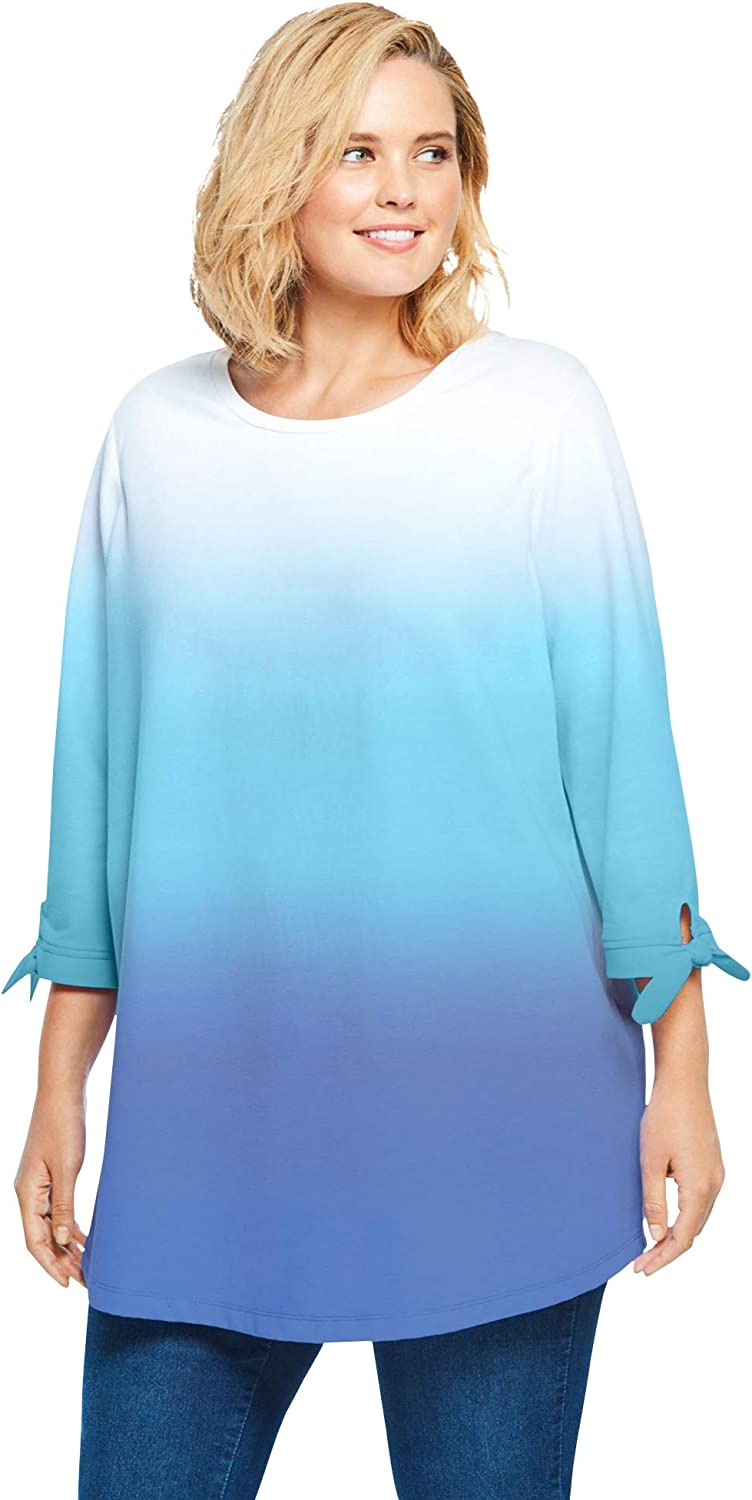 Woman Within Women's Plus Size French Terry Tie-Sleeve Sweatshirt