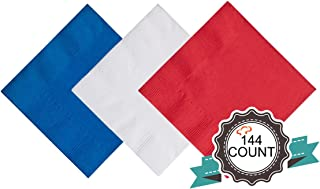 Tiger Chef 144-Pack 2-Ply 4th of July Red White and Blue Assorted 5 X 5 Inch Beverage Bulk Disposable Bar Square Paper Napkins for Cocktail Drinks Desserts Weddings - Includes Napkin Folding Guide