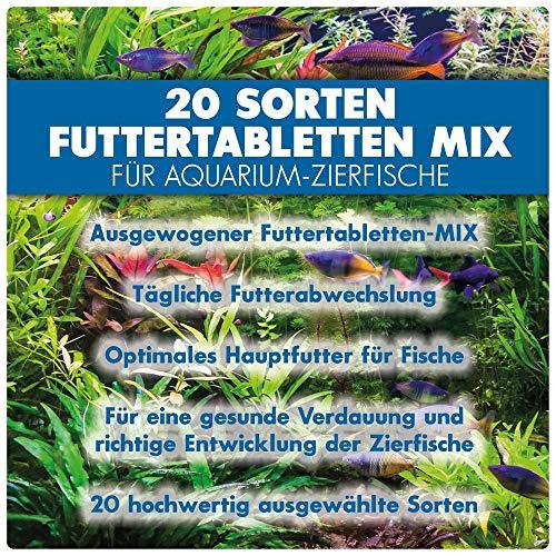 AQUALITY PREMIUM Futter-Tabletten MIX '20 Sorten' 1.000 ml (Eine täglich ausgewogene Mischung von 20 verschiedenen Futtertablettensorten für Ihre Aquarium-Fische. Leckeres Fischfutter in Premium-Qualität) - 2