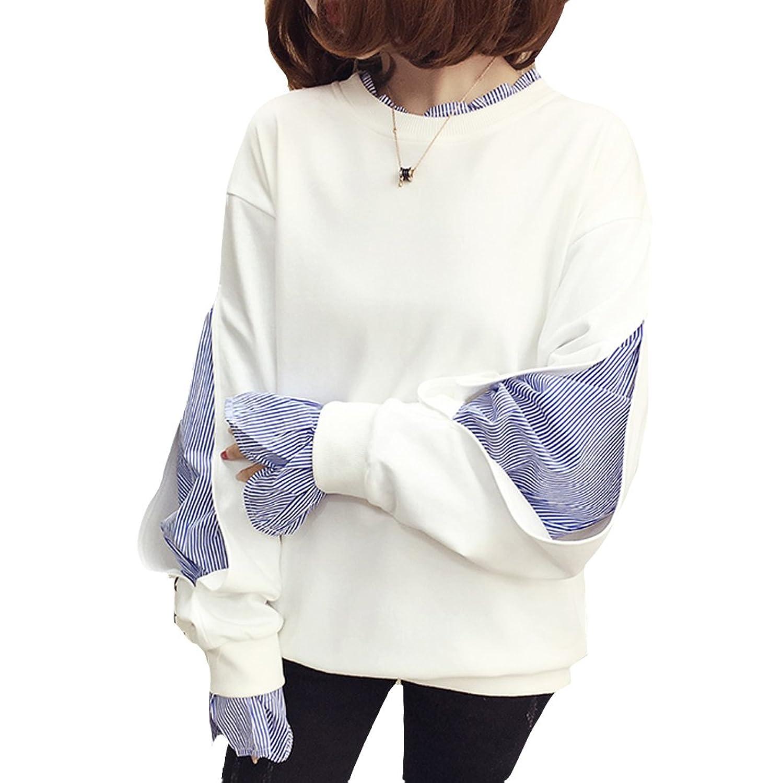 [美しいです] レディース Tシャツ 長袖 ランタンスリーブ スプライス袖 春 秋 冬 ゆったり プリーツネック