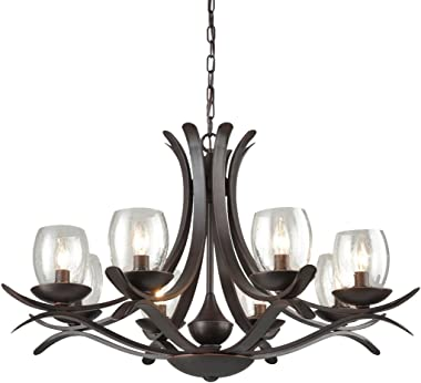 AXILAND Industrial Retro 8-Light Wrought Iron Candle Lights Chandeliers for Dining Rooms