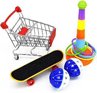 Beauenty Parrot Toy Bird Accessories for Pet Toy Intelligence Training Chew Toy Mini Shopping Cart Training Rings Skateboa...
