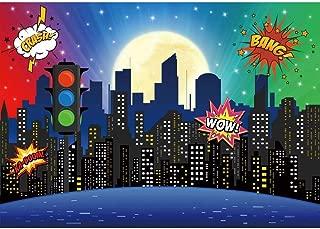 Allenjoy Superhero Super City Skyline Buildings Backdrop Baby Shower Boy Girl 1st Birthday Party Decoration Skyscraper Cityscape Traffic Light Newborn Photoshoot 7x5ft Background Photo Booth Props