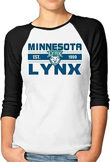ElishaJ Women's Raglan Baseball T Shirt Minnesota Team Lynx Black