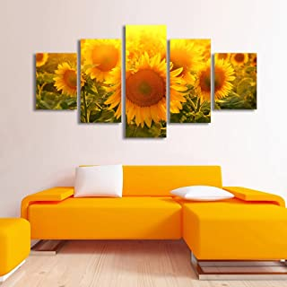 Sunflowers Modern 5 Panels Stretched and Framed Giclee Canvas Prints Artwork Landscape Pictures Paintings on Canvas Wall A...