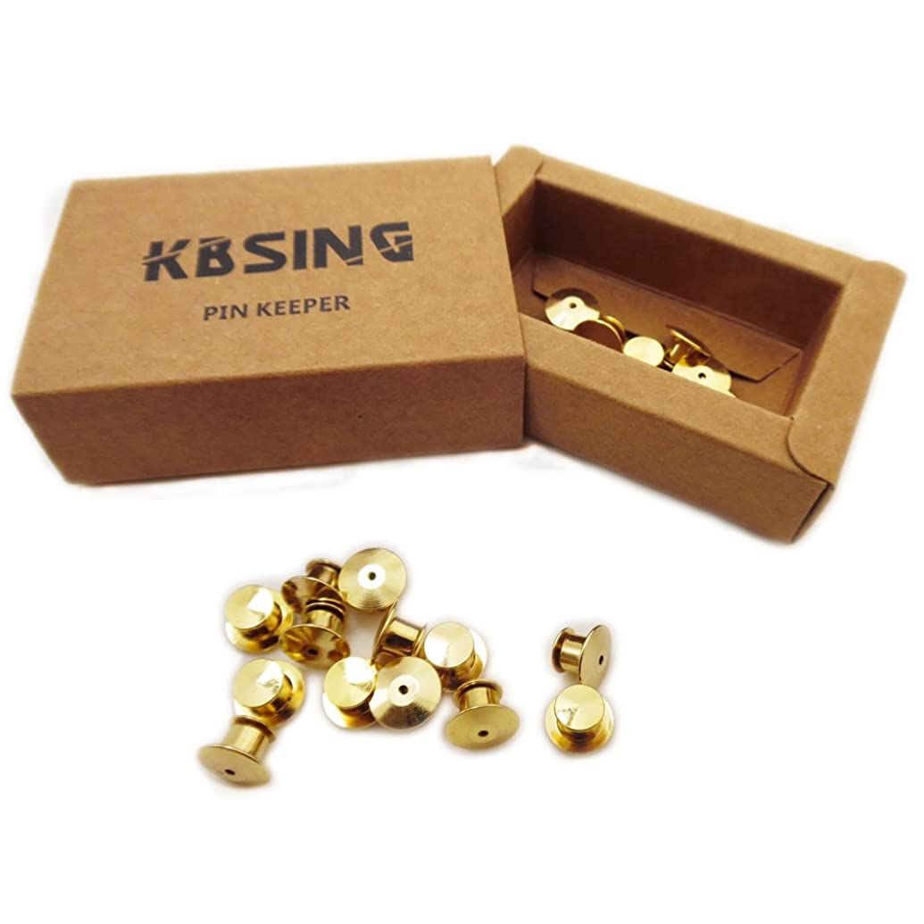 Kbsing 20 Pcs Locking Pin Keepers Backs (Gold)