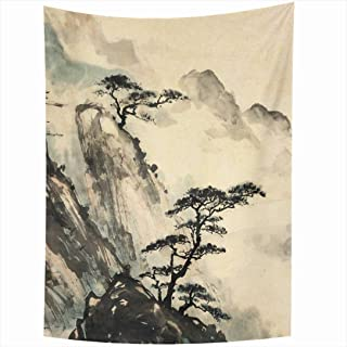 Ahawoso Tapestry 60x90 Inch Pink Japanese Chinese Artistic Landscape Blossom Cherry Branch Painting Nature China Pattern Ink Tree Drawing Tapestries Wall Hanging Home Decor Living Room Bedroom Dorm