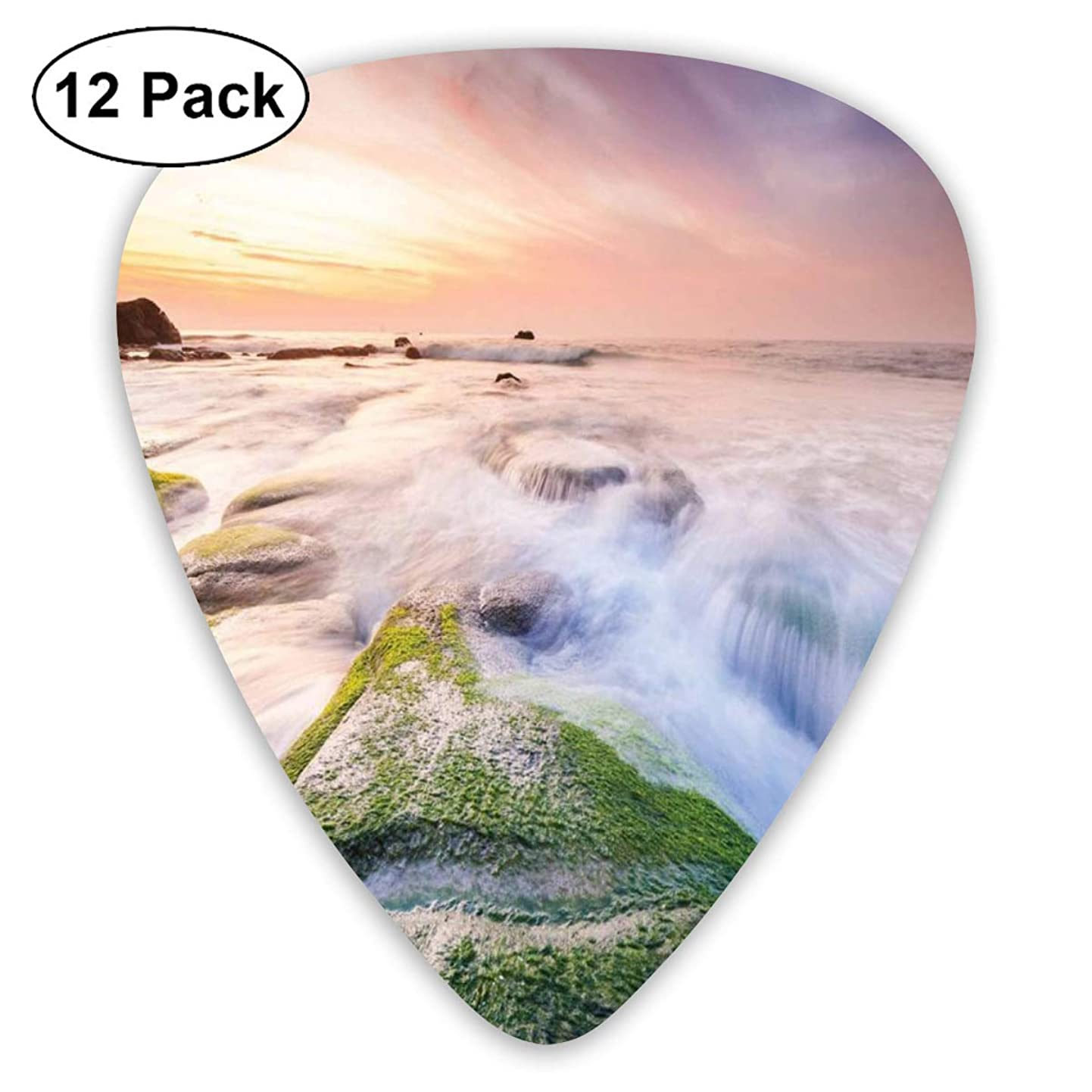Guitar Picks 12-Pack,Malaysia Landmark Nature Wonders Photo Of Fountains Stream Mossy Rocks With Ombre Sky czvxsiqxylh1