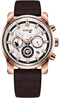 OCHSTIN Business Men Watch Leather Strap Quartz Sport Wristwatch Calendar Fashion Casual Male Luminous Watches