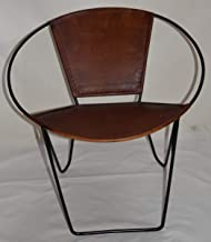Round Leather Chair - Brown Leather (Leather, 73x73x73)