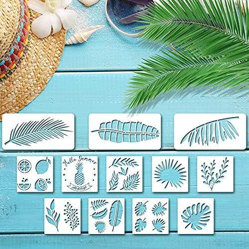 12 plantillas de hojas tropicales, hojas de helecho monstera, plantillas de pintura de pared, hojas reutilizables, plantillas de dibujo, plantillas para pared, piso, vidrio,madera,decoración del hogar