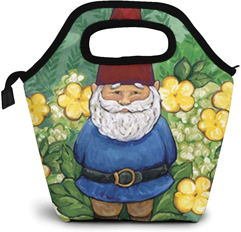 GuwyPqbus Garden Gnome Lunch Box Insulated Lunch Tote Bag Lunch Organizer Lunch Holder Lightweight Waterproof And Reusable Black