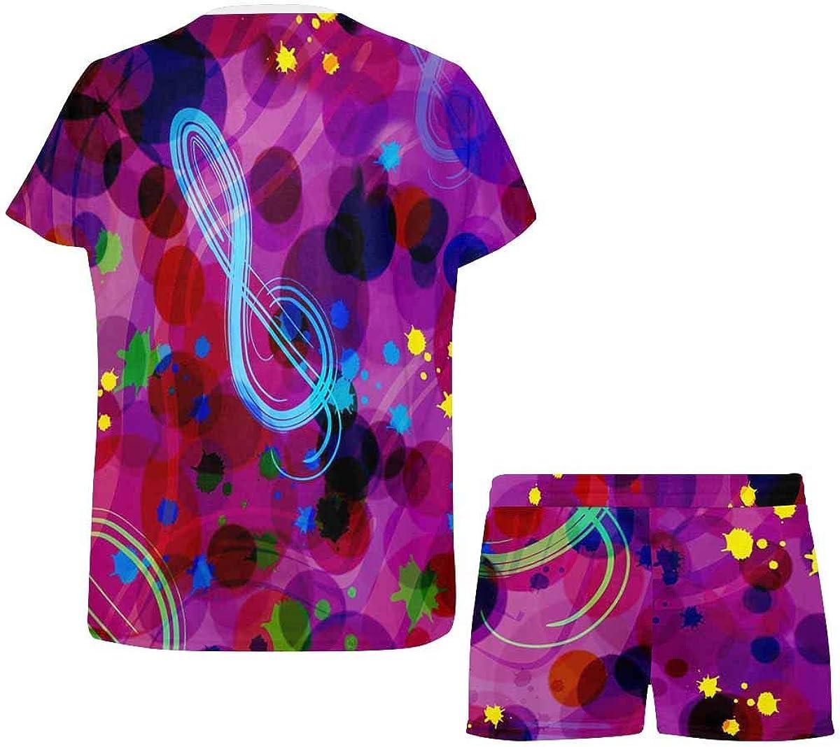 InterestPrint Music Notes Rainbow Splashes Women's Breathable 2 Piece Shorts Pajama Sleepwear Set