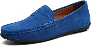 YINJIESHANGMAO Driving round leather loafers men casual shoes suede flat bamboo slip lightweight men's shoes Men's shoes (Color : Light Blue, Size : 47 EU)