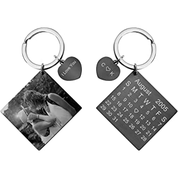 Personalised Keyring Custom Printed Heart Metal Photo Picture comes Gift boxed