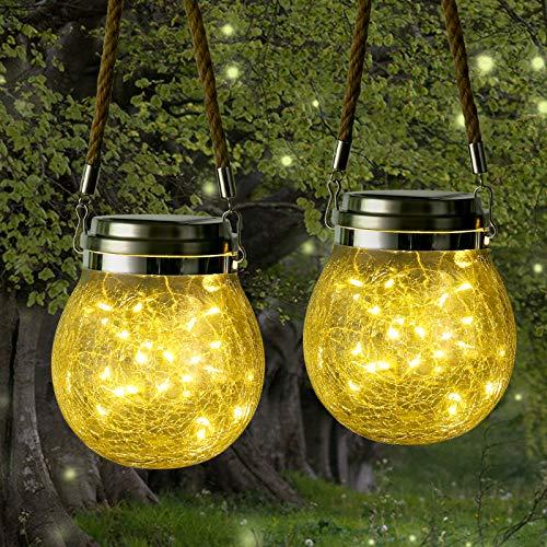 [2 Pezzi] Qedertek Lanterne da esterno Solari, Lanterna Solare di vetro con 30 LED, Luci Solari Impermeabile IP65, Luci Decorativa per Giardino, Terrazza, Gazebo (Bianco Caldo)