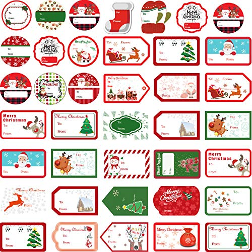 300pcs Christmas Wrap Tags Gift Tag Stickers, Gift Name Tags Stickers for Christmas Presents, to from Christmas Labels – Santa, Deer, Xmas Tree, Merry Christmas Self Adhesive Gift Labels Stickers