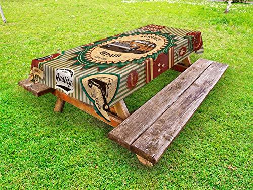 ABAKUHAUS retro Tafelkleed voor Buitengebruik, Oude Sixties Car Pop Art, Decoratief Wasbaar Tafelkleed voor Picknicktafel, 58 x 104 cm, Groen Rood Cream