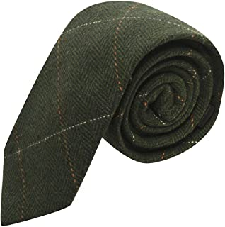 Corbata de lujo de tela tweed en espiguilla verde del bosque