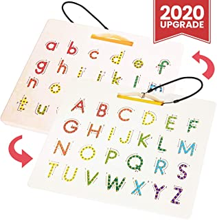 CozyBomB Magnetic Alphabet Tracing Board - Double Sided Alphabet Trace Board - Preschool ABC Writing Learning Toy - Montessori Letter Writing Practice Board - Upper and Lower Case Letters