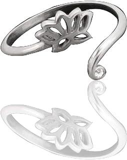Quan Jewelry Handmade Adjustable Lotus Ring, Om Yoga Charm, Namaste Gifts for Yogii, Elegant Lotus Flower with Swarovski C...