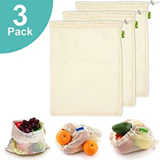 Reusable Produce Bags, Organic Cotton Mesh Bags for Shopping and Storage with Tare Weight on Tags, Double-Stitched Seams, Machine Washable, Biodegradable, Eco-Friendly, Set of 3 Large