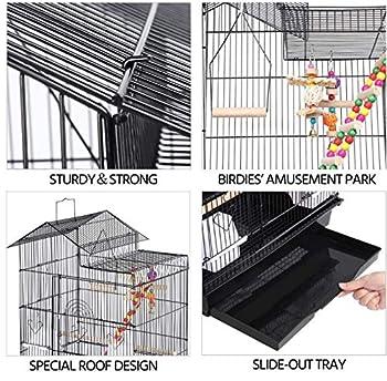 HUOLE Volière,Cages à Oiseaux,Grande Cage à Oiseaux Volière Extérieur avec Pied sur Roulette pour Perroquet/Perruche/Canari/Parakeet/Calopsitte élégante/Pinson,46 * 35.5 * 99cm