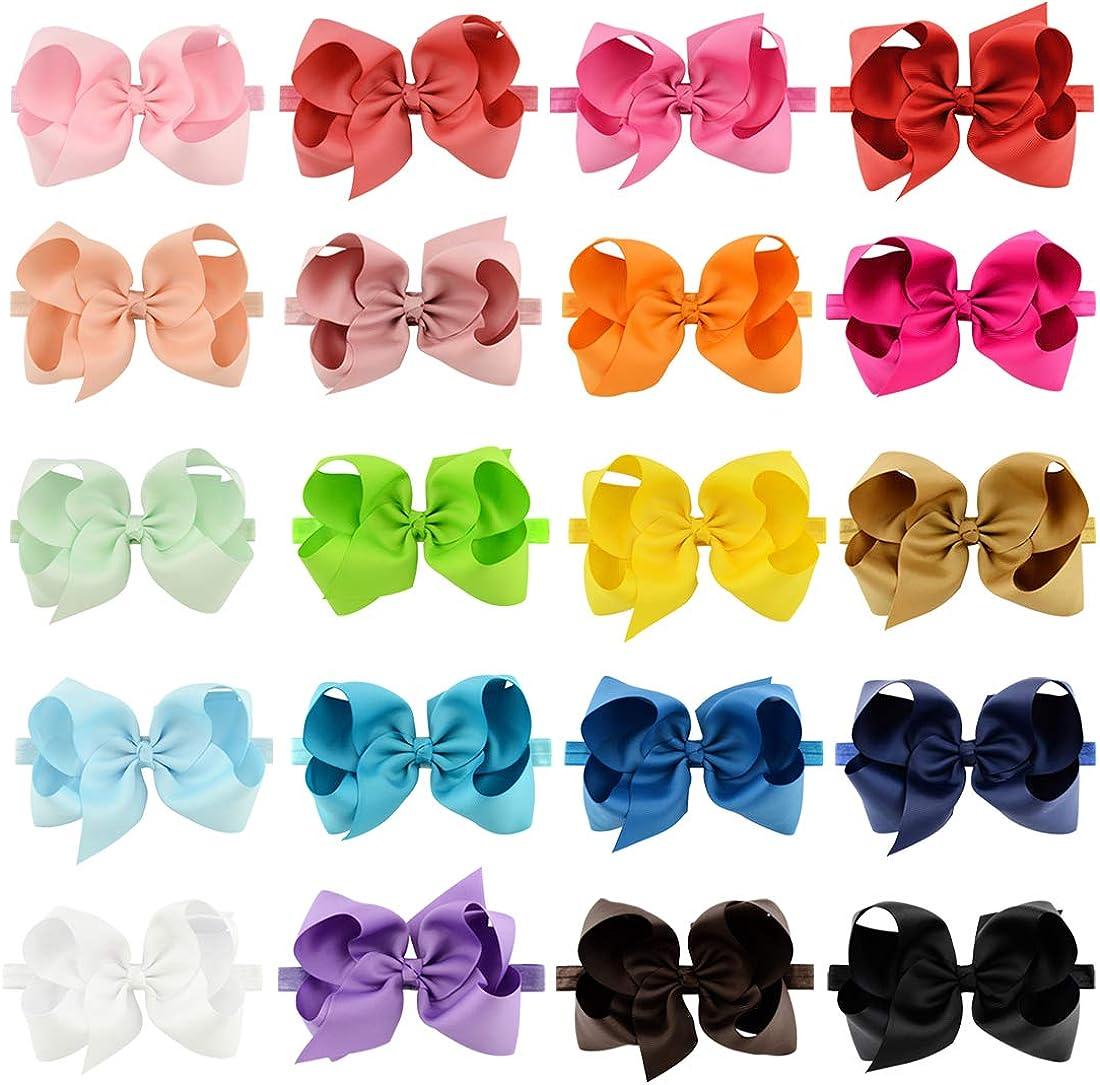 Hair Bow Headband Baby Newborn Infant Girls Toddler 6 inches 20 PCS Elastic Grosgrain Ribbon for Kids