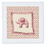 3dRose Baby Elephant Blanket with Butterflies & Flowers, Pink - Quilt Square, 12