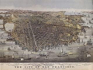 BIRD'S EYE VIEW OF SAN FRANCISCO BAY AREA CALIFORNIA BOATS USA VINTAGE POSTER REPRO