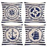 Gspirit 4 Pack Oceano Vela Ancla Navegación Brújula Salvavidas Algodón Lino Throw Pillow Case Funda de Almohada para Cojín 45x45 cm
