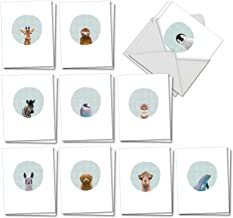 Animal Portrait Mode - 20 All Occasion Baby Animal Note Cards with Envelopes (4 x 5.12 Inch) - Assortment of Blank Greetings Cards - Cute Kids Stationery (10 Designs, 2 Each) AM7182OCB-B2x10