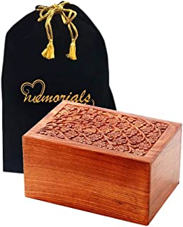 Memorials4u Solid Rosewood Cremation Urn with Hand-Carved Real Tree Design for Human Ashes - Adult Funeral Urn Handcrafted and Engraved - Affordable Urn for Ashes - Wood Urn (Tree of Life)