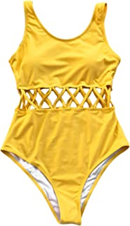 cf9072d3c0 CUPSHE Women's Afternoon Sunshine Strappy High Waisted Backless One-Piece  Swimsuit