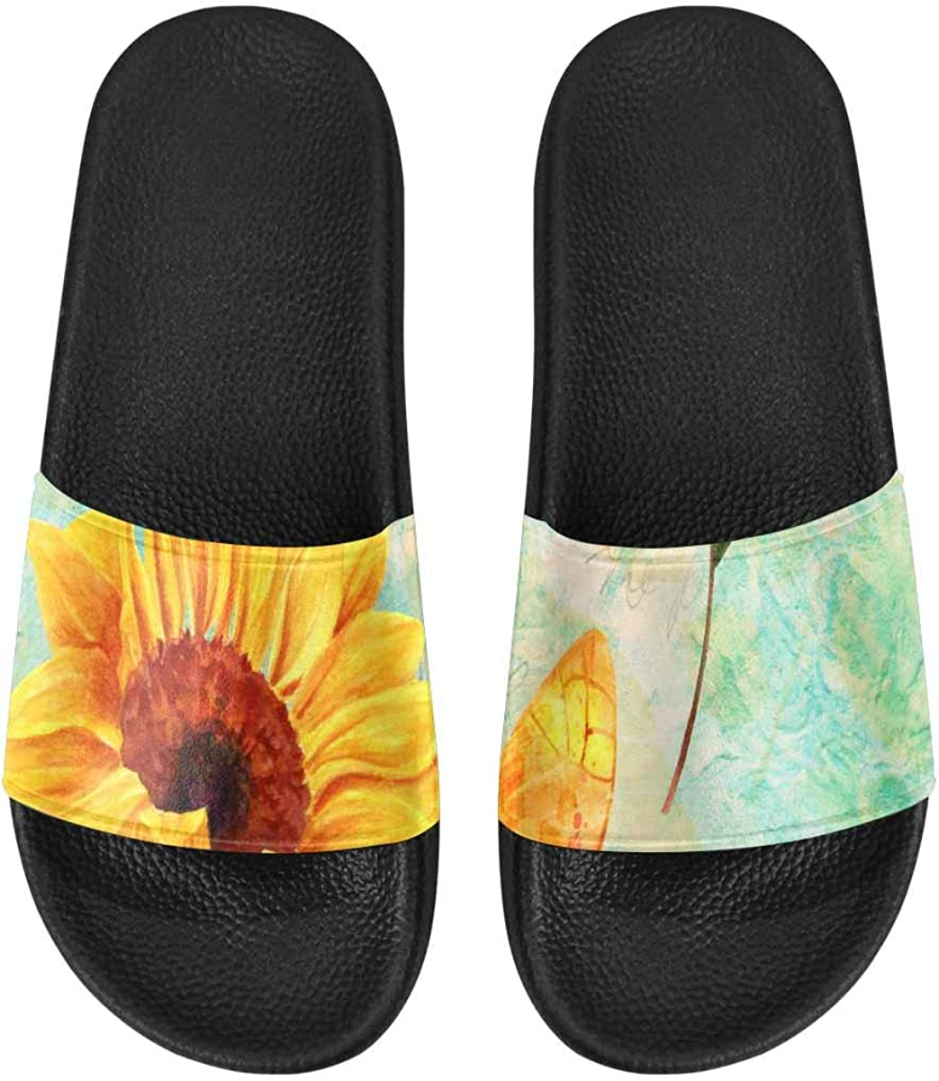 InterestPrint Women's Outdoor Sandals Breathable and Comfortable Watercolor Sloth Pink Flower