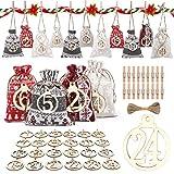 24 Calendarios de Adviento, Calendario de Adviento de Navidad con Etiquetas de Madera Especiales y 24 Bolsas de Tela con Clips de Madera, Juego de Manualidades Para Bolsa de Regalo de Navidad 2022