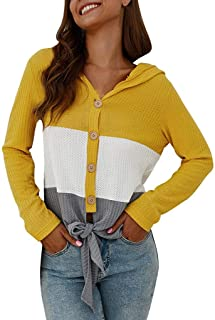 Casual Stripe Patchwork Knot Long Sleeve V-Neck Hooded Top Shirts Blouse
